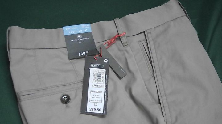 BLUE HARBOUR REGULAR FIT GREY TROUSERS  36X31IN