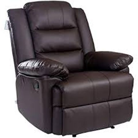 BOXED LOXLEY BROWN FAUX LEATHER RISE RECLINER CHAIR (2 BOXES)