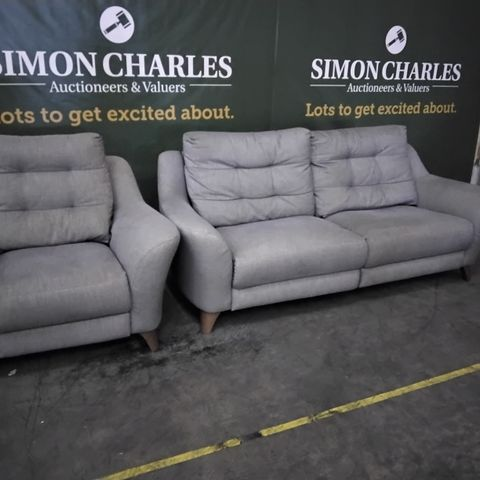 QUALITY G PLAN PIP FLOSS ASH FABRIC POWER RECLINING LOUNGE SUITE, COMPRISING, THREE SEATER SOFA & EASY CHAIR