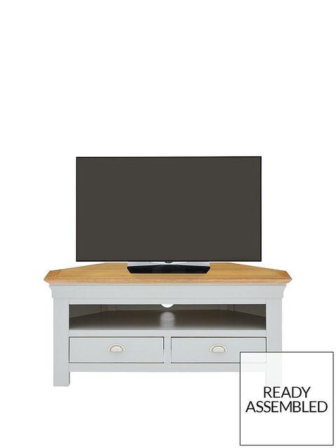 BOXED GRADE 1 SEATTLE GREY/OAK-EFFECT CORNER TV UNIT (1 BOX)