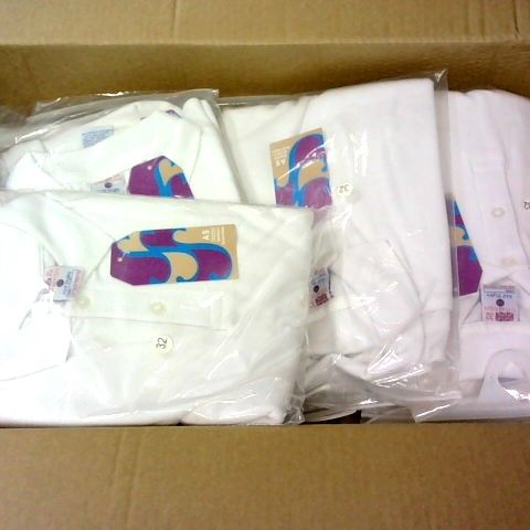 LOT 0F APPROXIMATELY 80 WHITE BOYS POLO SHIRTS IN VARIOUS SIZES