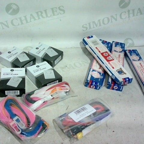 LOT OF APPROX. 20 ITEMS TO INCLUDE: PAPER SWEET BAGS, WINDOW ALERT ALARM, MIXED COLOURS LANYARDS
