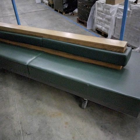 GREEN LEATHER UPHOLSTERED OAK CENTRAL SEATING UNIT