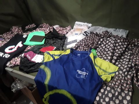 BOX OF APPROXIMATELY 41 ITEMS OF ASSORTED DESIGNER CLOTHES & ACCESSORIES, INCLUDING, PRINTED DRESSES, MENS T SHIRT VESTS, SOCKS, TIMBERLAND WALLET, MANS BELT, UNDERWEAR, STARWARS T SHIRT, HOODIE,
