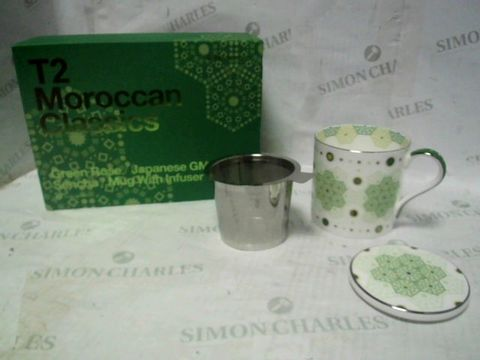 T2 MOROCCAN CLASSICS GREEN ROSE/JAPANESE GMC SENCHA MUG WITH INFUSER