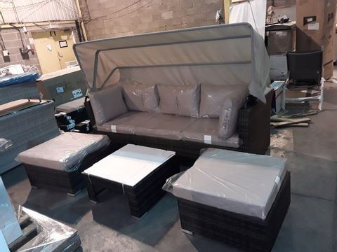 DESIGNER GRADE 1 GARDEN SOFA SET TO INCLUDE: THREE SEATER SOFA WITH ADJUSTABLE COVER, TWO STOOLS AND GLASS-TOPPED TABLE