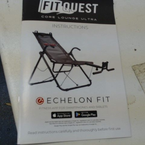 FITQUEST CORE LOUNGER FOLDABLE WORKOUT CHAIR- COLLECTION ONLY