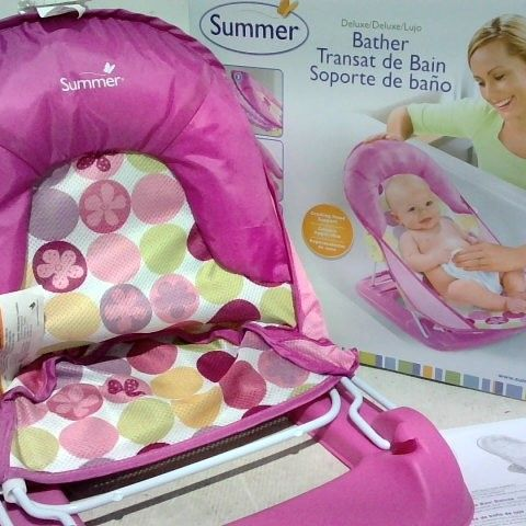 SUMMER DELUXE BATHER - 3 POSITIONS RECLINE - USE IN SINK OR TUB - PINK