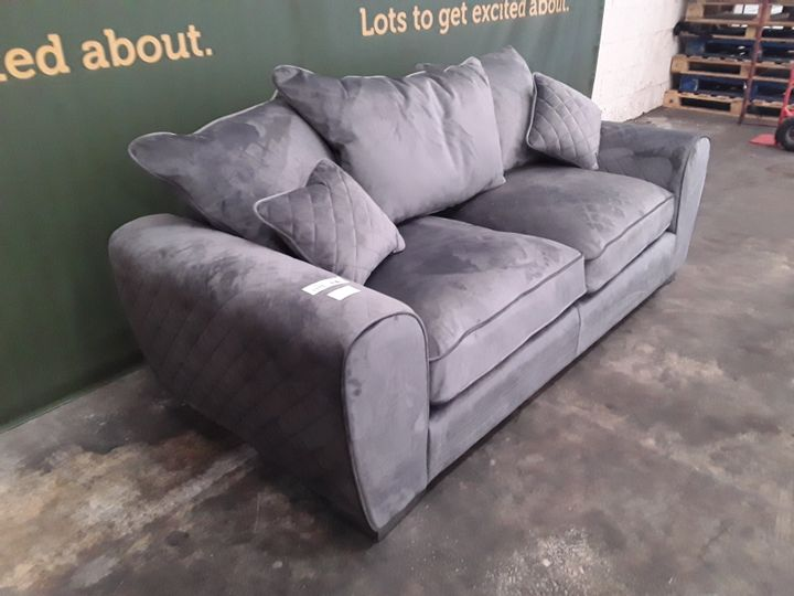DESIGNER GREY FABRIC TWO SEATER SOFA WITH SCATTER BACK CUSHIONS