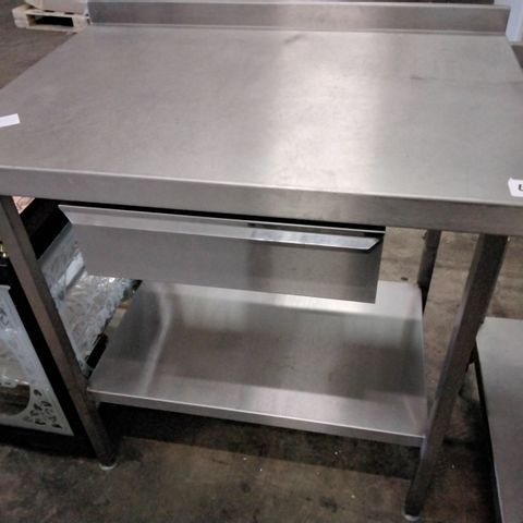 CATERING METAL WORK TABLE WITH DRAWER & UNDERSHELF