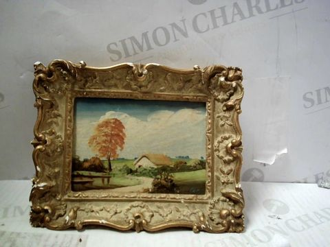SMALL FRAMED OIL PAINTING OF LANDSCAPE, SIGNED PIET