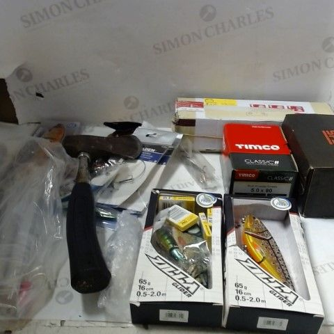 LOT OF ASSORTED HOUSEHOLD ITEMS TO INCLUDE; TOOLS, FICHING ACCESSORIES, SCREWS ETC