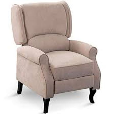BOXED EATON BEIGE FABRIC PUSH BACK RECLINING EASY CHAIR (1 BOX)
