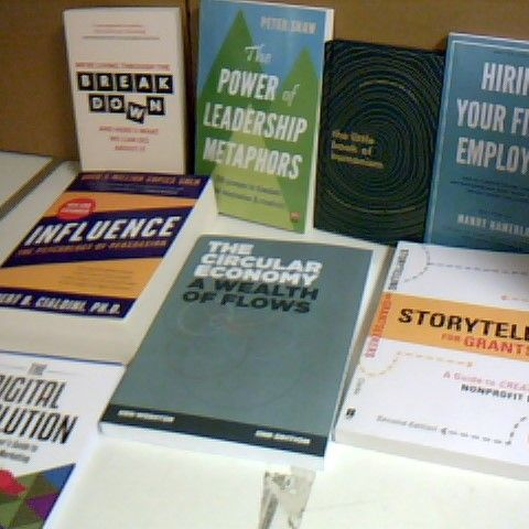 ASSORTMENT OF 8 NON FICTION SELF HELP BOOKS INCLUDING INFLUENCE, THE CIRCULAR ECOOMY AND THE DIGITAL REVOLUTION