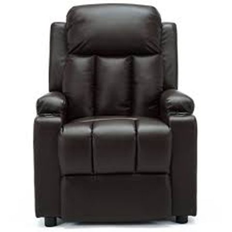 BOXED OSCAR PUSHBACK BROWN FAUX LEATHER CHAIR (1 BOX)
