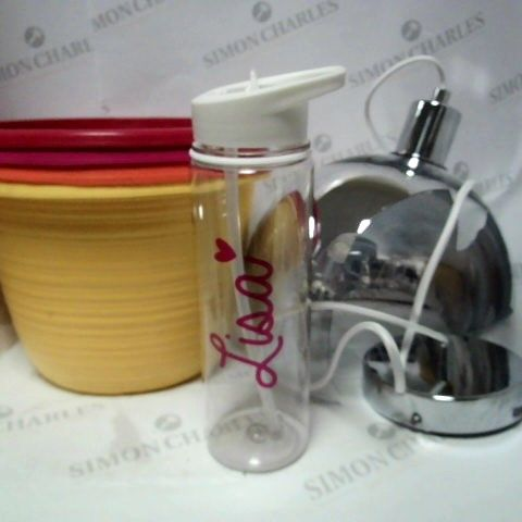 LOT OF 2 ASSORTED HOUSEHOLD ITEMS; PERSONALISED WATER BOTTLE, HAVEN GLASS PENDANT & BALLAGIO PLANTERS