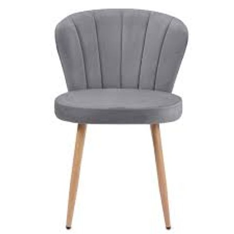 BOXED GREY VELVET FABRIC OYSTER ARMCHAIR WITH SHELL STITCHED BACK (1 BOX)