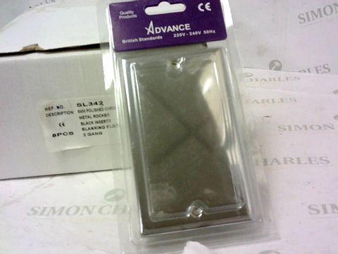 BOX OF 5 5mm POLISHED CHROME 2 GANG BLANKING PLATES