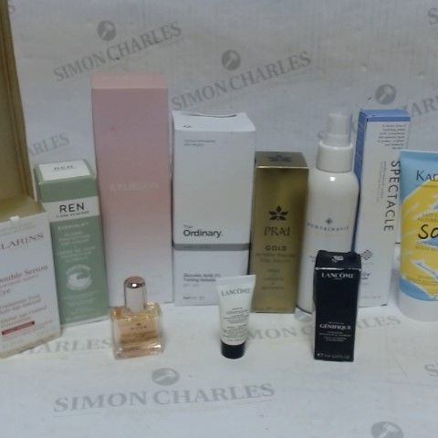 LOT OF APPROXIMATELY 10 ASSORTED SKIN CARE ITEMS, TO INCLUDE KYLIE SKIN, LANCOME, FONTAINAVIE, ETC
