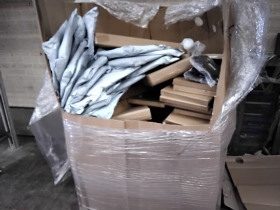 PALLET OF ASSORTED ITEMS INCLUDING COLLAPSIBLE LAUNDRY BAGS, BOXED COMPUTERS DESKS, SCARFS, COAT HOOKS, ISOLATION FILM.