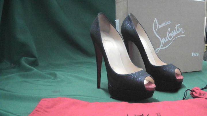CHRISTIAN LOUBOUTIN LADY PEEP 150 GLITTER MINI BLACK RED OPEN TOE HEELS UK SIZE 6