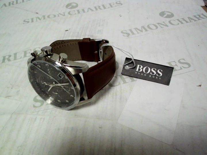 BOSS GREY DIAL CHRONOGRAPH BRONZE IP STRAP WATCH