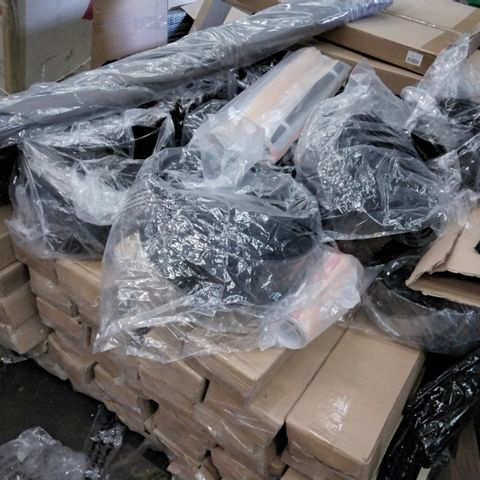 PALLET OF ASSORTED ITEMS INCLUDING LARGE LAPTOP/BED TABLES, GARDEN PARASOLS, ROLLS CRAFT PAPER, LAZY SUSAN TURNTABLES.