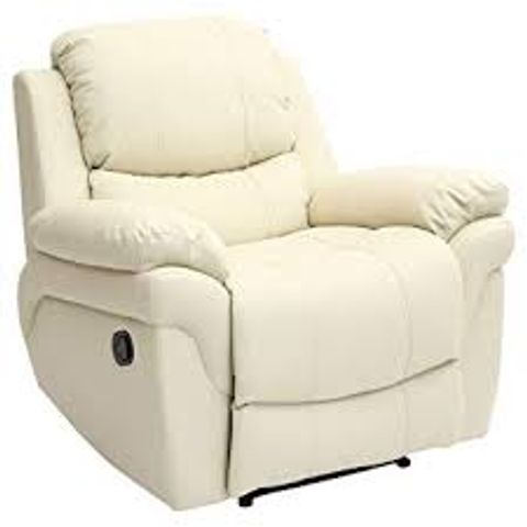 BOXED MADISON CREAM LEATHER RISE & RECLINER EASY CHAIR (2 BOXES)