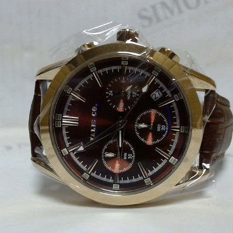 DESIGNER TALIS CO MAROON FACE BROWN CROC LEATHER STRAP WRISTWATCH