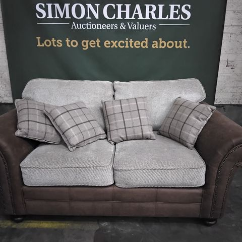 DESIGNER MARSHALL SULTAN OATMEAL FABRIC & BROWN LEATHER THREE SEATER SOFA WITH STUDDED DETAIL