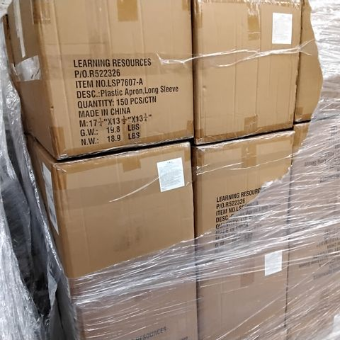PALLET OF 24 CASES OF DISPOSABLE PLASTIC LONG SLEEVED APRONS, 150 PER CASE