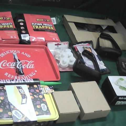 BOX OF ASSORTED HOMEWARE ITEMS TO INCLUDE COCA COLA TRAY, VEGETABLE CUTTER, FLY TRAPS