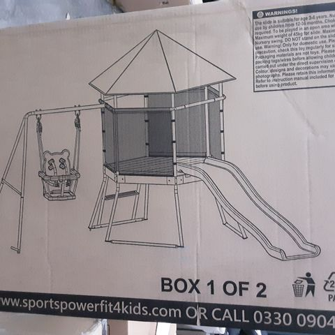 Boxed sports power toddler swing, climber & slide (2 boxes)