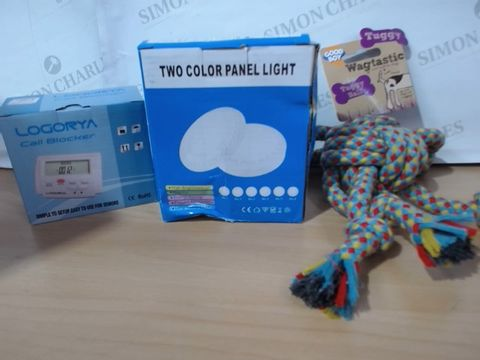 MEDIUM LOT OF ASSORTED HOUSEHOLD ITEMS TO INCLUDE: TWO COLOR PANEL LIGHT, LOGORYA CALL BLOCKER, TUGGY WAGTASTIC TUGGY BALL FOR DOGS ETC