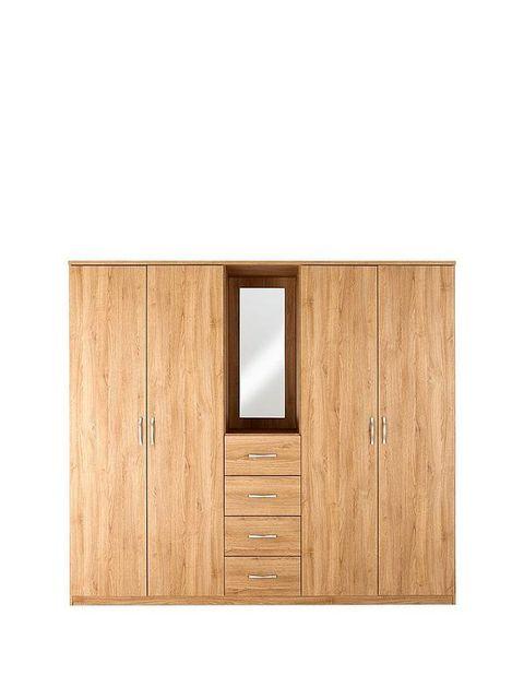 BOXED GRADE 1 PERU OAK-EFFECT 4-DOOR 4-DRAWER WARDROBE (4 BOXES) RRP £485.00