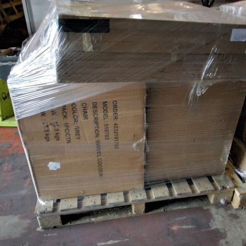 PALLET OF APPXORIMATELY 4 ASSORTED FURNITURE ITEMS TO INCLUDE SWIVEL COCOON CHAIR AND JULIAN MCDONALD CRYSTAL WALL MIRROR
