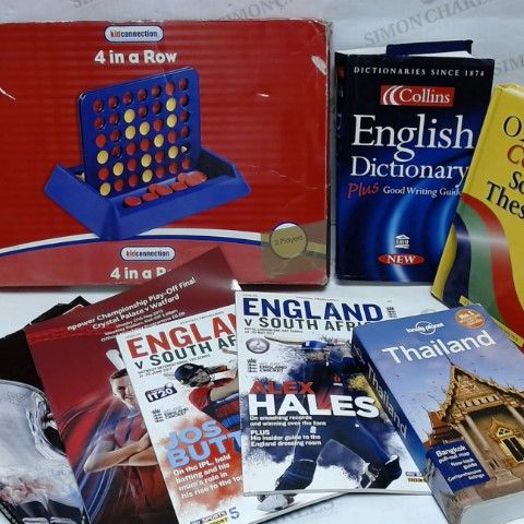 LOT OF APPROXIMATELY 7 ASSORTED HOUSEHOLD ITEMS, TO INCLUDE SPORTS MAGAZINES, VARIOUS BOOKS, 4 IN A ROW GAME, ETC