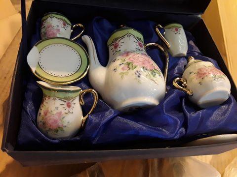 2 REGAL PORCELAIN COLLECTION MINIATURE TEA SETS