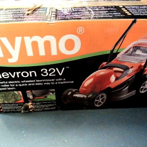 FLYMO CHEVRON 32V ELECTRIC WHEELED LAWNMOWER WITH REAR ROLLER FOR EASY STRIPED LAWN