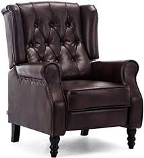 BOXED DESIGNER ALTHORPE BROWN FAUX LEATHER PUSH BACK RECLINING CHAIR