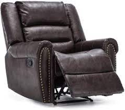 BOXED DENVER BROWN FAUX LEATHER MANUAL RECLINING EASY CHAIR (1 BOX)