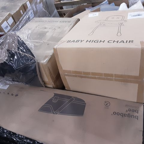 PALLET OF ASSORTED ITEMS TO INCLUDE A BOXED CARRY COT AND BOXED BABY HIGH CHAIR