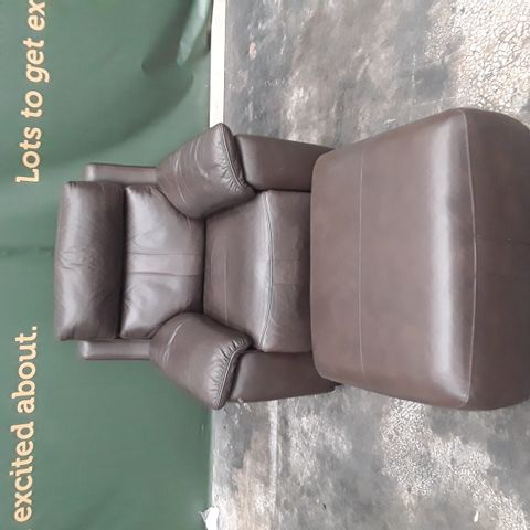 QUALITY HAYLEY BROWN FAUX LEATHER POWER RECLINING ARMCHAIR AND FOOTSTOOL