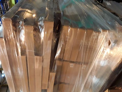 PALLET OF BRAND NEW ASSORTED OFFICE FURNITURE PARTS, INCLUDING, NATURAL OAK PANELS 302 × 811MM, WALL ONFILL PANELS NATURAL OAK 220 × 661MM