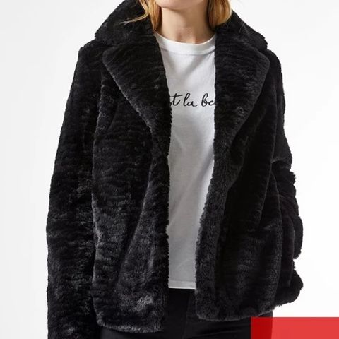 BRAND NEW DOROTHY PERKINS COLLAR AND REVERE TEXTURED FAUX FUR COAT - BLACK, SIZE 12