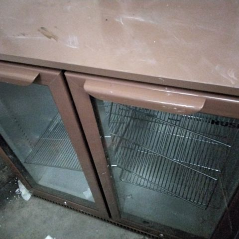 HUSKY BROWN DOUBLE DOOR UNDER COUNTER BOTTLE DISPLAY FRIDGE
