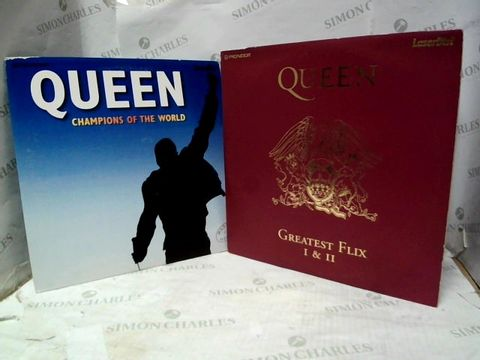 """LOT OF 2 QUEEN 12"""" VINYL ALBUMS - CHAMPIONS OF THE WORLD + GREATEST FLIX I & II"""