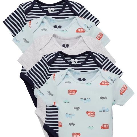 BABY BOYS 5 PACK TRANSPORT BODYSUITS - MULTI (LOT OF APPROXIMATELY 5 SIZE 3-6 MONTHS)