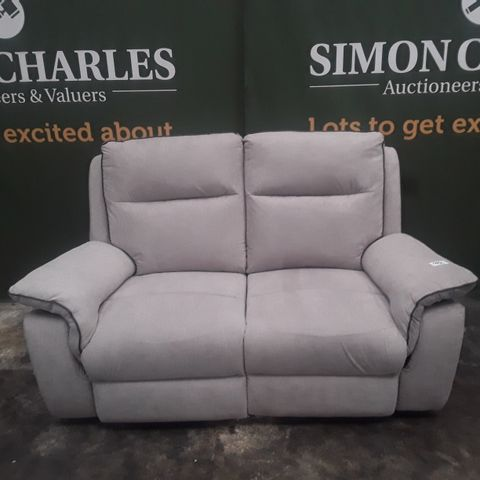 QUALITY EXPRESSION GREY FABRIC TWO SEATER POWER RECLINING SOFA
