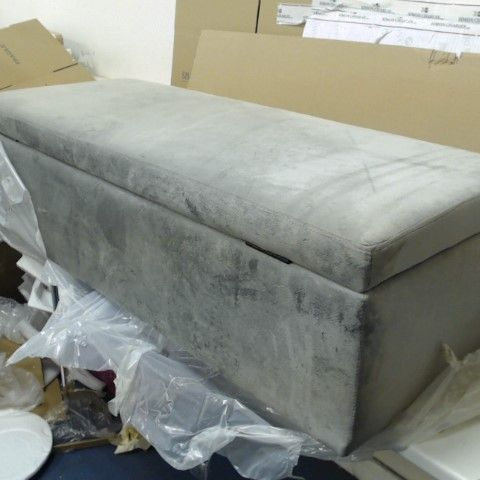 BOXED ALISON CORK  VELVET OTTOMAN STORAGE BENCH - GREY- COLLECTION ONLY
